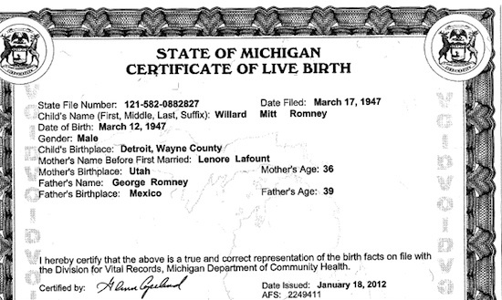 Mitt Romney's Certificate of Live Birth