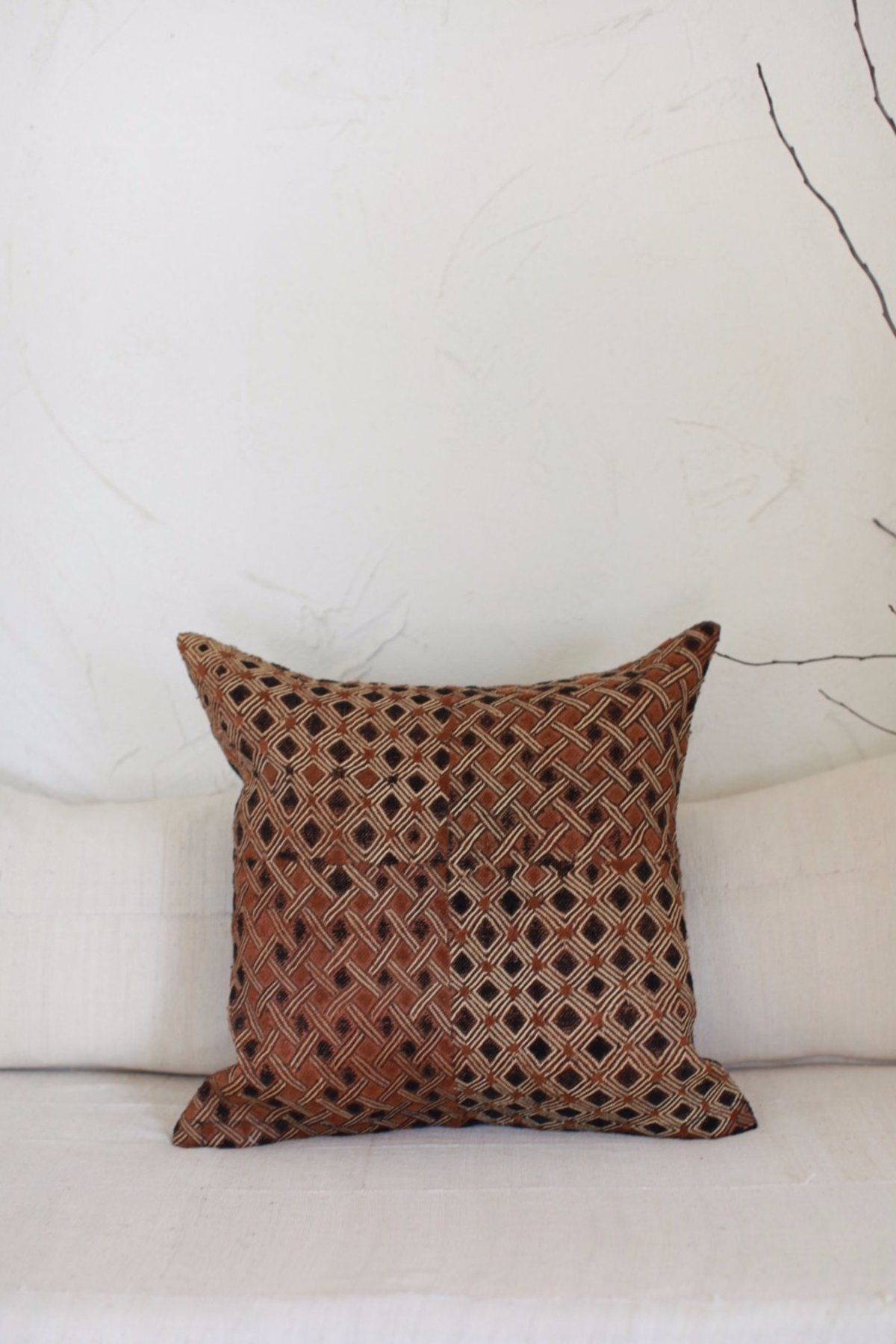 nomad collective kuba cloth pillow brown black natural