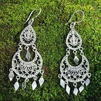 Sterling Silver Chandelier Earrings Illusion From Indonesia