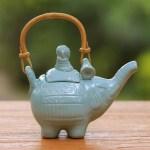 Handmade Blue Ceramic Teapot Buddha And The Turquoise Eleph Novica