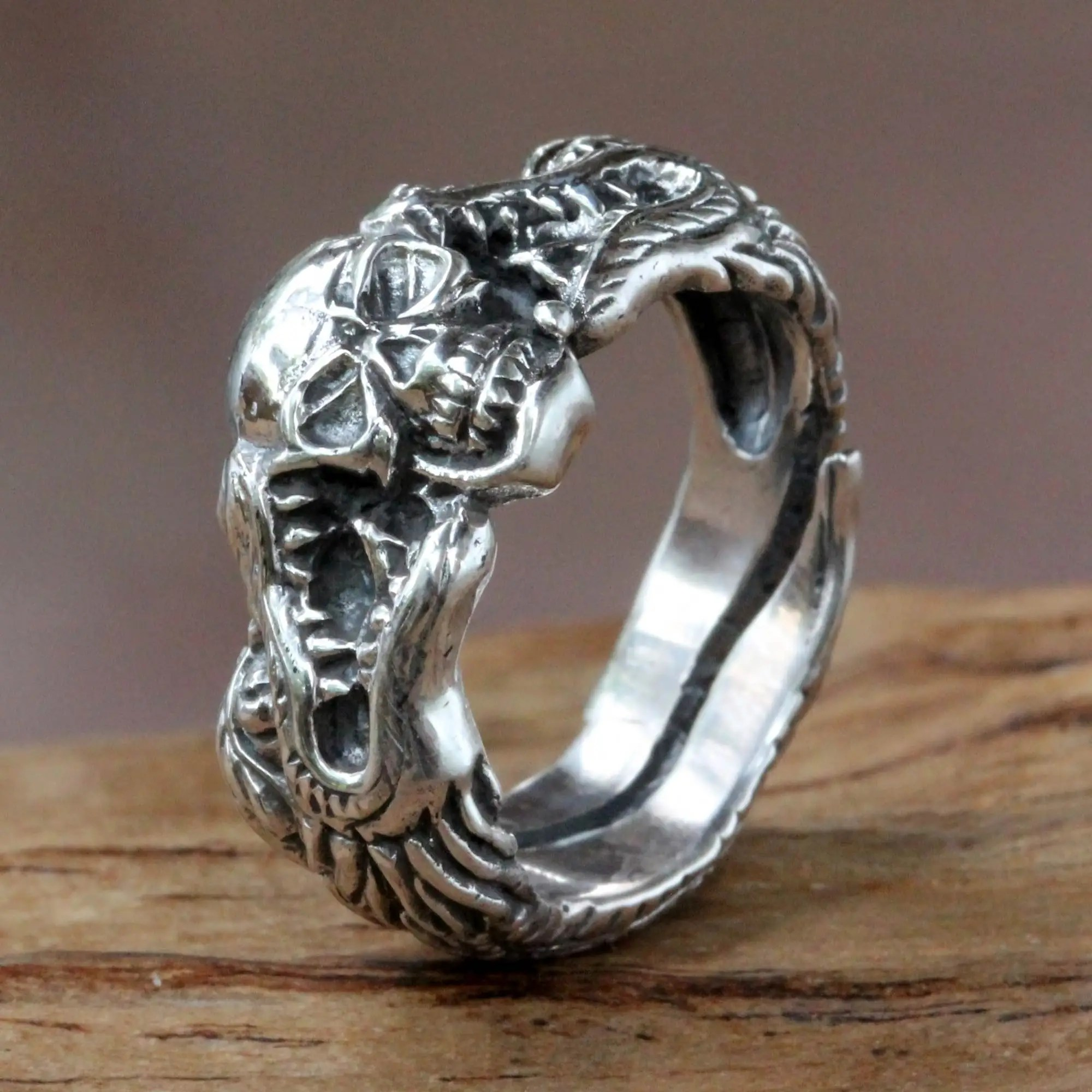 Unicef UK Market Sterling Silver Skull And Dragon Ring