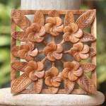 Frangipani Flower Suar Wood Relief Panel From Bali Interconnected Jepun