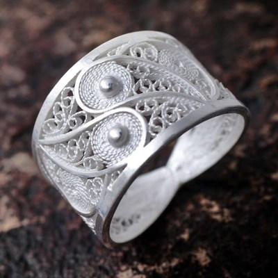 Handcrafted Fine Silver Filigree Ring Paisley Shine NOVICA
