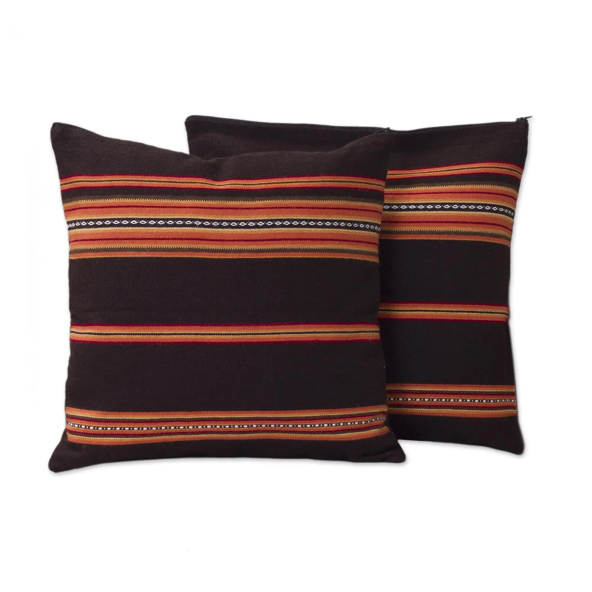 handwoven brown and orange cushion covers pair quechua girl