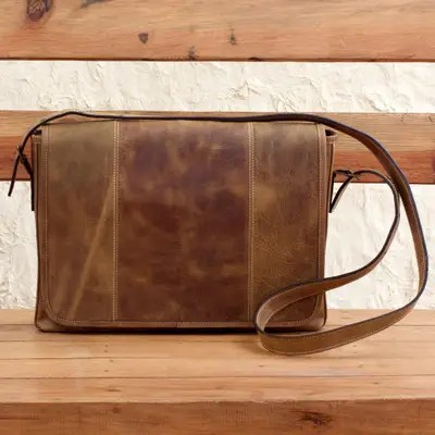 distressed brown leather boho style laptop case with pockets bohemian vip