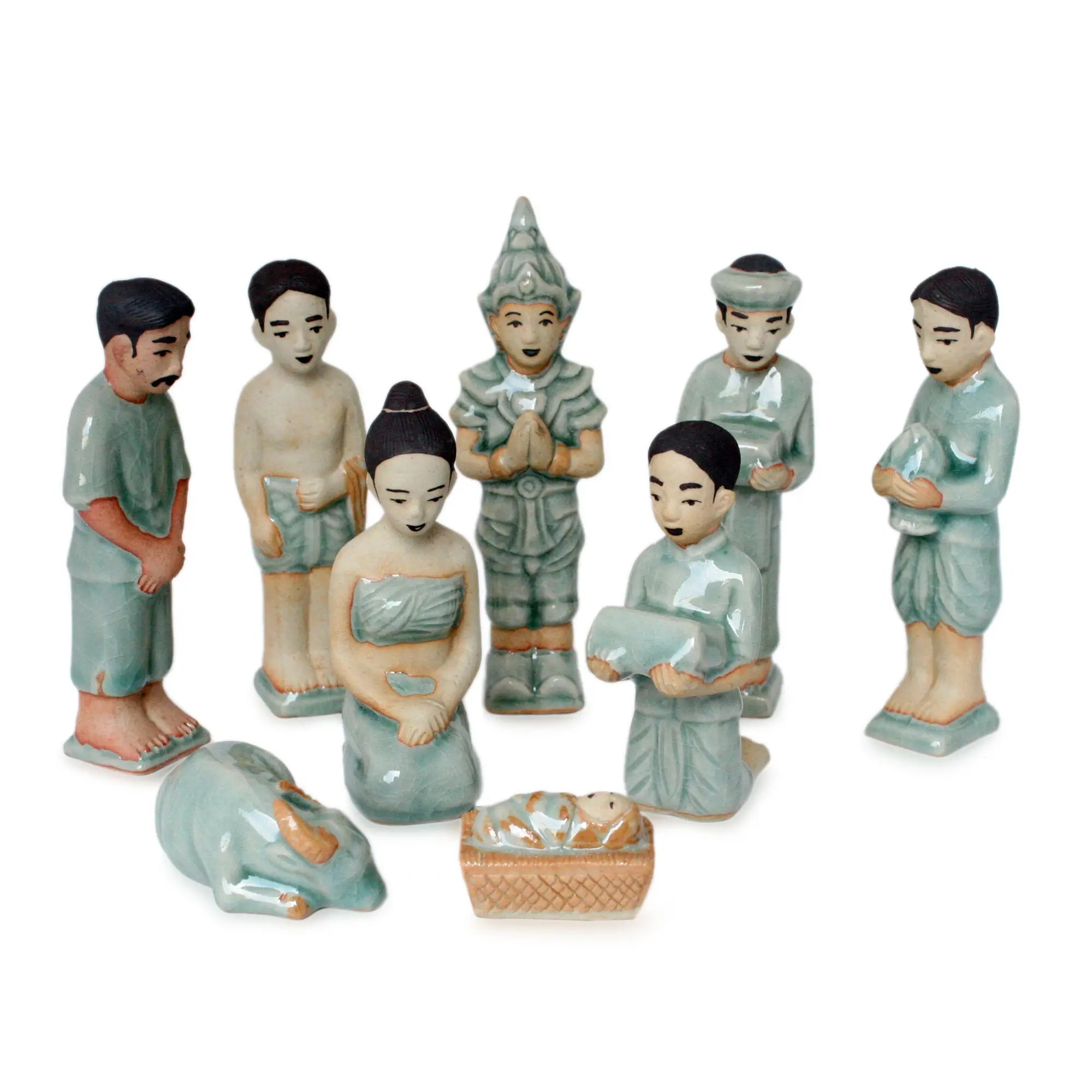 Unicef UK Market Celadon Ceramic Nativity Scene Set Of