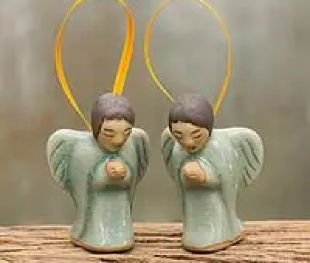 Celadon Ceramic Ornaments Angels At Prayer Pair Two Handcrafted Thai