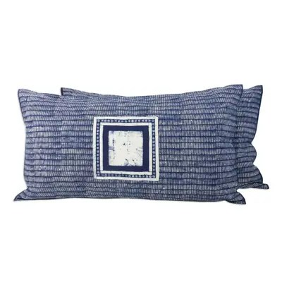 batik cotton pillow shams in indigo and white pair indigo holiday