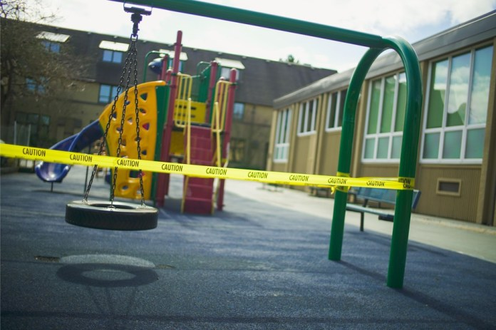 A closed play area at Madeleine Elementary School in northeast Portland, March 21, 2020.