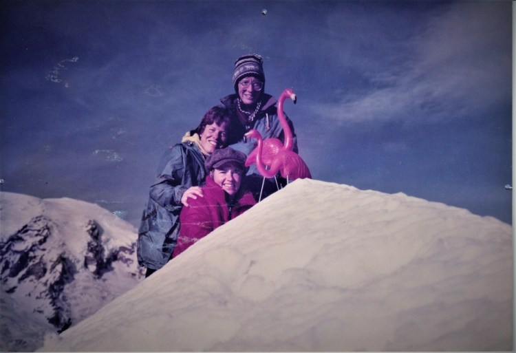 Kathy Phibbs and friends often packed flamingos to mountain summits.