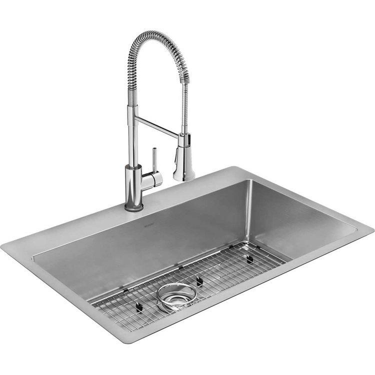elkay ectsrs33229tfc crosstown 33 x 22 x 9 single bowl dual mount sink kit w faucet grid drain 18 gauge stainless