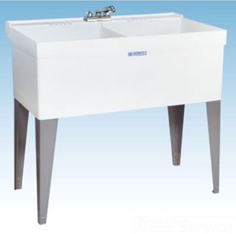 mustee 27f 40 x24 utility laundry tub wall white