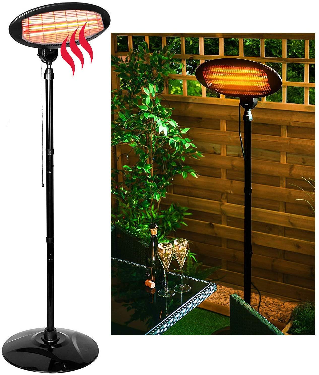 details about 2kw free standing electric patio heater garden outdoor waterproof quartz 2000w