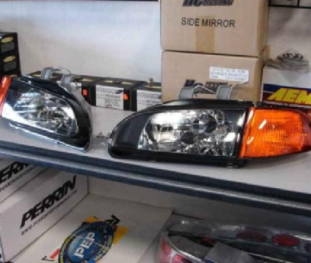 Honda Civic Black Housing Headlights Amber Corners