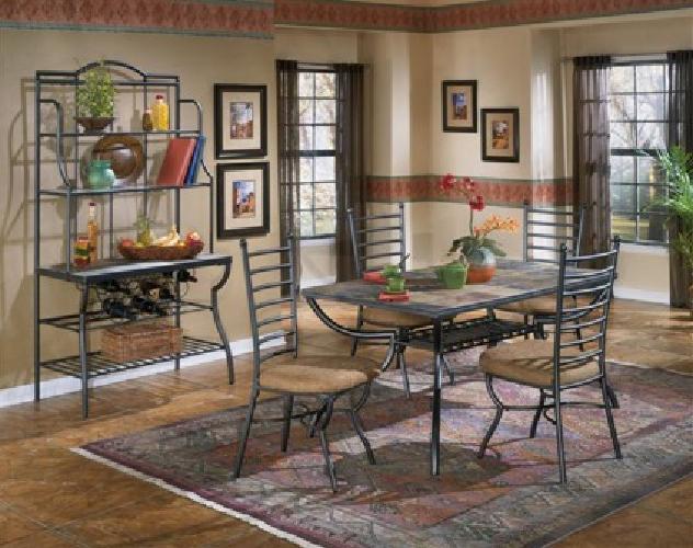 600 OBO Antigo Tile Dining Table And HutchBakers Rack