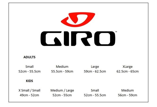 Image result for giro helmet size chart