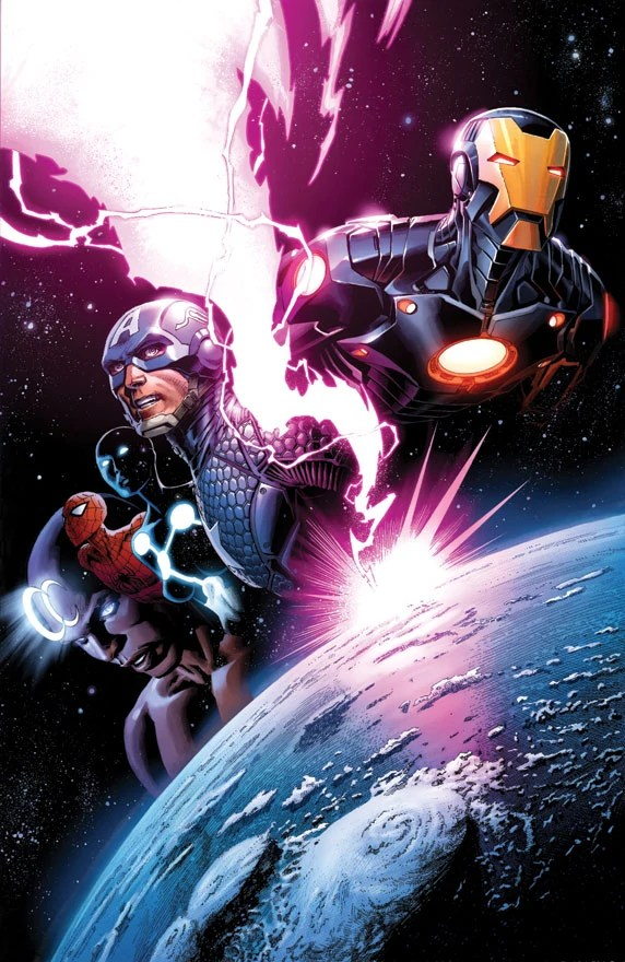 Avengers #7 vol 5 cover Iron Man Captain America Spider-Man Marvel