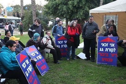 ההפגנה היום בתל-אביב. הדיירים מתקיימים בקושי (צילום: מוטי קמחי)