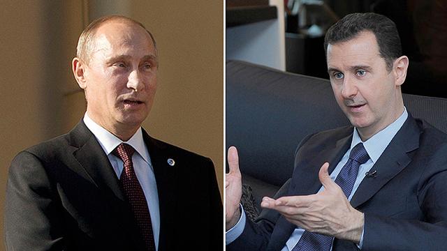 US strike on hold. Putin, Assad (Photos: Reuters, AFP)