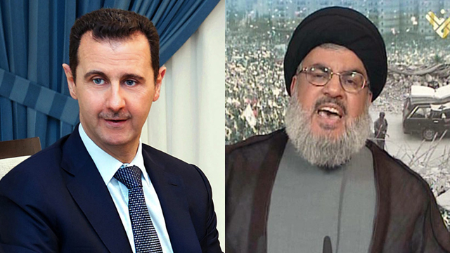 Arab war on terror? Nasrallah and Assad (Photos: EPA, AFP)