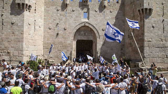 The annual Jerusalem Day march at the Damascus Gate (Photo: AFP)
