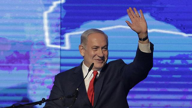 Netanyahu during Wednesday's rally (Photo: Shaul Golan)
