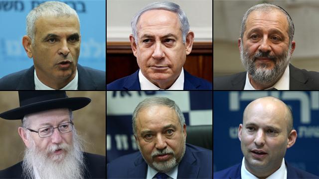 Top row left-to-right: Finance Minister Kahlon, Prime Minister Netanyahu, Interior Minister Deri; bottom row, left-to-right: Deputy Health Minister Litzman, Defense Minister Lieberman, Education Minister Bennett (Photo: Ohad Zwigenberg, Alex Kolomoisky and Reuters)