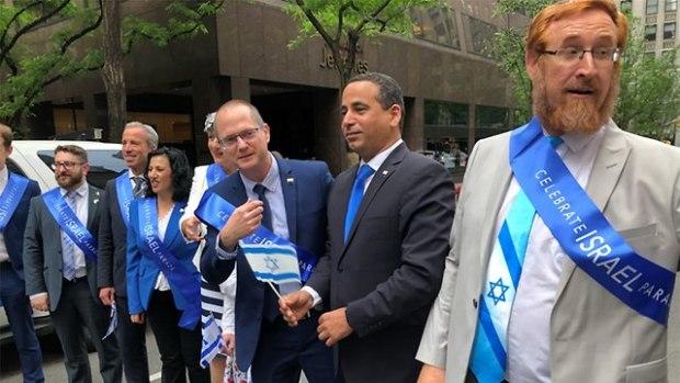 Израильские участники парада солидарности на Пятой авеню. Фото: Исраэль Ацмон