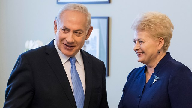Lithuanian President Dalia Grybauskaite and PM Netanyahu (Photo: AP)