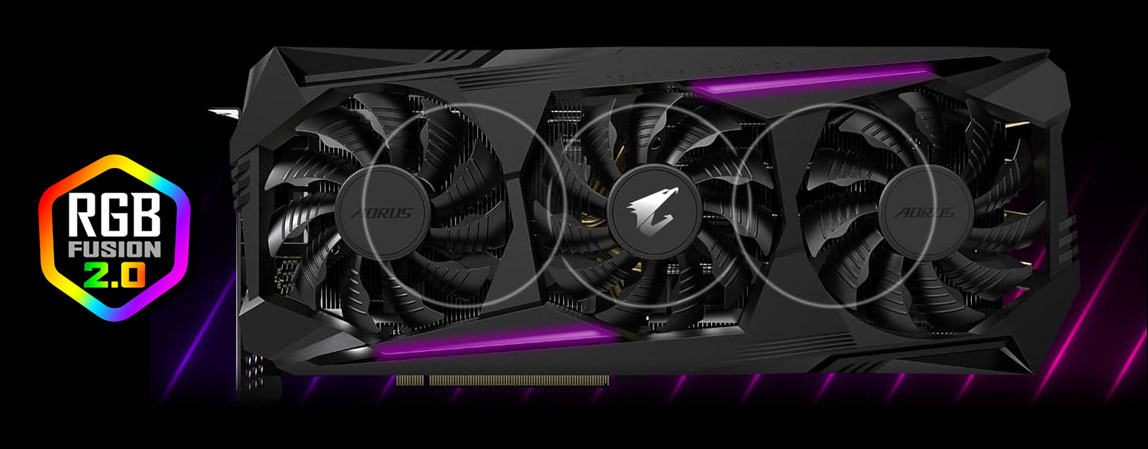 RGB Fusion 2.0 badge beside the graphics card in purple light