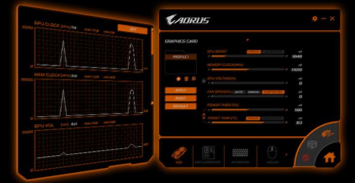 interface of AORUS ENGINE