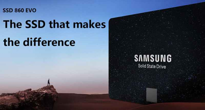Samsung 860 EVO SSD facing to the left as a giant in the desert next to a small man on rock formation. There is text that reads: SSD 860 EVO - The SSD that makes the difference