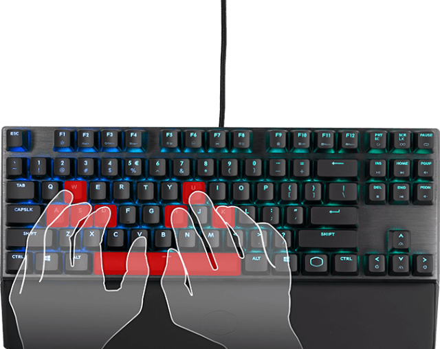 Overhead view of transparent graphic hands using the MK730 keyboard