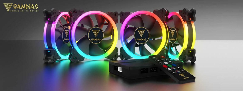 GAMDIAS AEOLUS M1-1204R 120MM RGB 4 in 1 Fan Pack with Controller ...