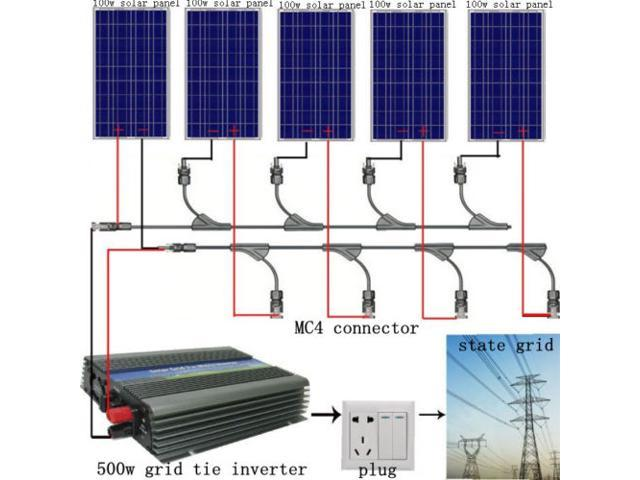 USA STOCK 500Watt Grid Tie Solar Panel Bundle Kit-5x100W