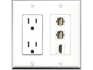 Power 2u 15 Amp In Wall Dual Ac Usb Outlet White