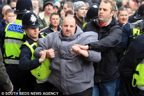 Tempers flared as pro-Army supporters took offence at the small protest and police were forced to separate the groups