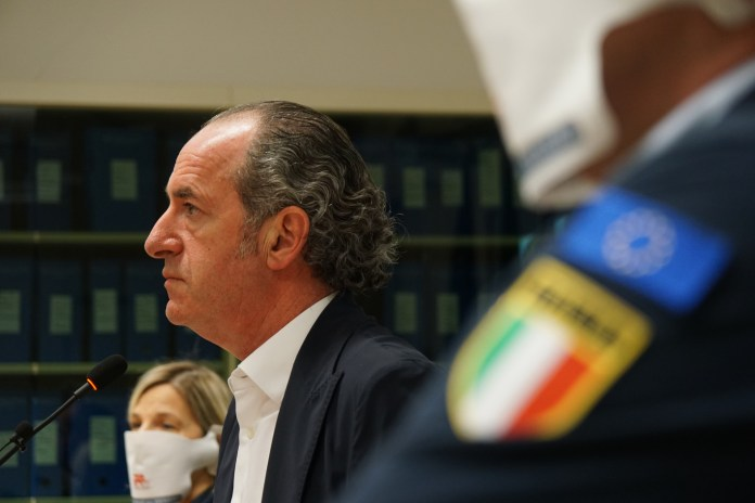 Luca Zaia at the daily press point (archive)