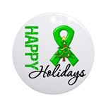 Green Ribbon Christmas Ornament (Round)