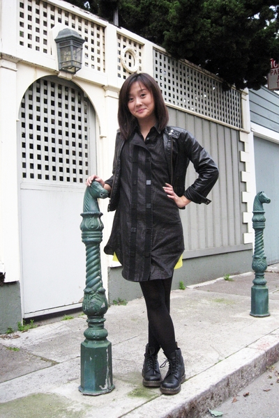 Alexander Wang Shirt Black Dress Gap Leather Black Jacket Doc Marten 8 Hole Black Shoes Old Navy Crepe Yellow Dress