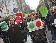 Manifestanti a un