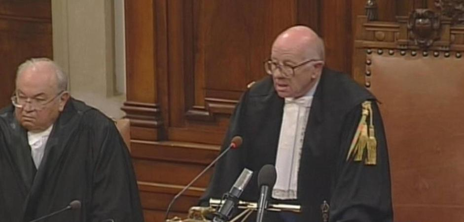 The President of the  current session of the Court of Cassation Antonio Esposito reads the judgment