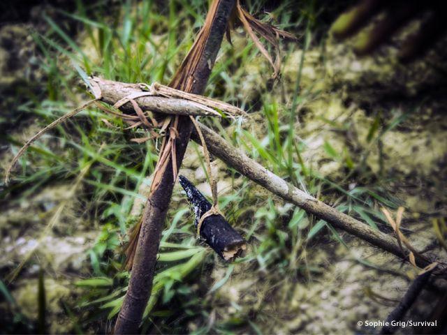 Fino agli anni Sessanta i Penan erano nomadi: nella foresta pluviale comunicavano attraverso un sistema di segnali fatti di bastoncini e foglie chiamato «oroo» (Joanna Eede ? www.survival.it)