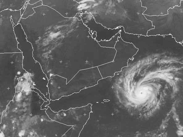 L'uragano Chapala ripreso ripreso dal satellite Met-7 il 30 ottobre 2015 alle 17  ora italiana (Eumetsat)
