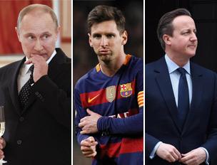 Il presidente russo Putin, il calciatore argentino Lionel Messi e il padre del premier britannico David Cameron