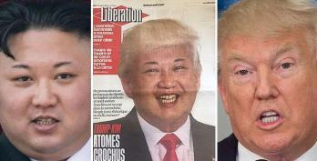 Il dittatore nordcoreano Kim Jong-un, il presidente Usa e la «sintesi» fatta da Libération in prima pagina