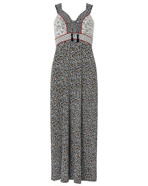 Printed tie maxi dress
