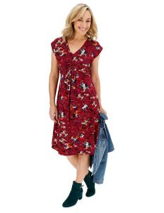 Maroon floral A-line dress from Joe Brown. Plus size maternity clothes