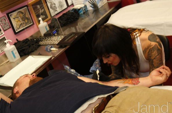 LA Ink's Kat Von D Attempts A 24 Hour Guinness World Tattoo Record