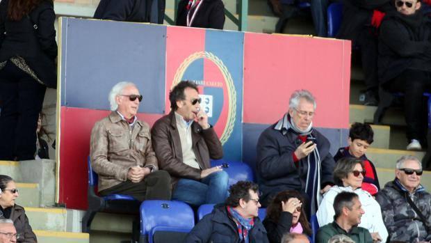 Massimo Cellino in tribuna a Cagliari. Lapresse